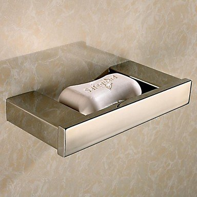 DIDIDD Shelf-Contemporary Mirror Polished Finish Brass Material Soap Dish,Silver (Steel Picture Modern Brass Polished)