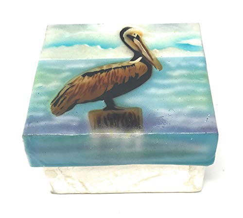 - Kubla Crafts Pelican on Post Capiz Shell Keepsake Box, 3 Inches Square