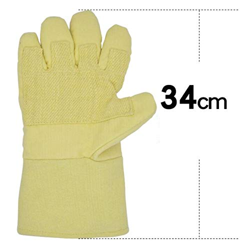 EXTR ANT High Temperature Resistant Gloves 500 Degrees Commercial Anti-scalding Gloves Five Fingers Flexible Oven Oven Thickened Microwave Oven Insulation Gloves Gloves (Size : 34cm) by EXTR ANT