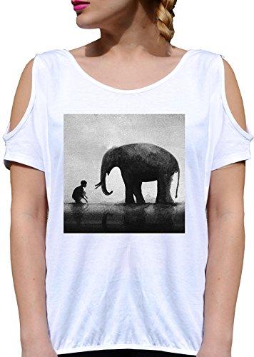 T SHIRT JODE GIRL GGG27 Z1920 ELEPHANT WILD ANIMAL NATURE FUNNY FASHION COOL BIANCA - WHITE M