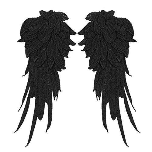 Freebily 1 Pair Embroidered Patch Fabric Iron-on or Sew-on Patches Badges Angel Wings Applique for Clothing Jackets Backpacks Jeans Baseball Cap Black Small