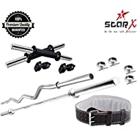 StarX Fitness Combo of 3ft, 5ft Rods and 1 Pair Dumbbell Rods with Weight Lifting Gym Belt Large Size