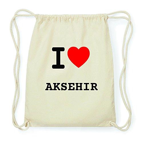 JOllify AKSEHIR Hipster Turnbeutel Tasche Rucksack aus Baumwolle - Farbe: natur Design: I love- Ich liebe