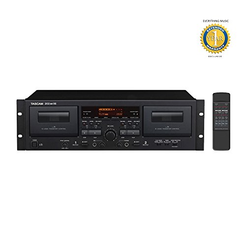 (Tascam 202MKVII Rackmount USB Dual Cassette Deck with Microfiber and Free EverythingMusic 1 Year Extended Warranty)