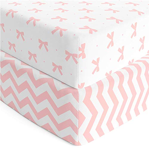 Cuddly Cubs Premium Jersey Crib Sheets, Gentle on Baby Skin and Extra Soft for a Sound Sleep! Fitted and Stretchy, NO Struggle to Get on the Mattress. Cute Chevron and Bow Pattern in Pink and Gray