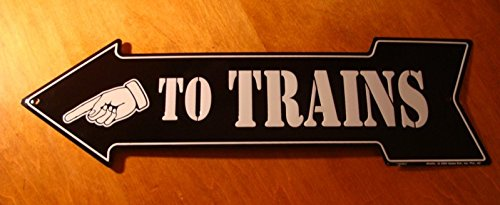 Arrow Switchplate - To Trains Finger Pointing Left Arrow Railroad Decor Sign