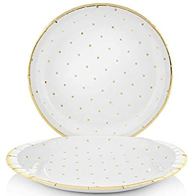 Disposable Party Supplies - Set of 24 | 24 Gold Dot Paper Plates, Cups and Napkins | Perfect Dinnerware & Dessert Set for Wedding, Baby Shower, Birthday, Engagement, Graduation, Bachelorette Parties