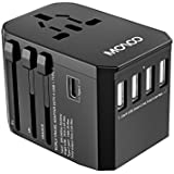 MOAOO Universal Travel Adapter, Internation Travel Power Adapter With 5.6A 5USB 3.0A Type-C, European Adapter Worldwide Wall Charger Power Plug for UK, EU, AU, Asia Covers 150+Countries, Black