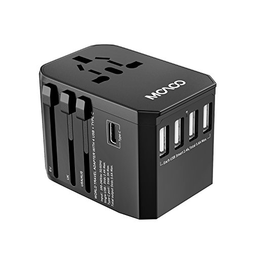 Universal Travel Power Adapter, MOAOO International All in One Worldwide Wall Charger AC Power Plug Adapter European Adapter with 5.6A Smart USB Ports and 3.0A USB Type-C for USA UK EU AUS, Black by MOAOO