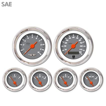 Aurora Instruments 4429 Marker Gray SAE 6-Gauge Set with Emblem Orange Vintage Needles, Chrome Trim Rings, Style Kit DIY Install