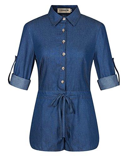 VIISHOW Sexy Half Sleeve Denim Jeans Jumpsuit Bodysuit Shorts Romper Playsuit (M, Blue)