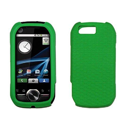 Motorola I1 Premium Silicone Gel Skin Cover Case Green Weave Texture [Accessory Export Brand ()