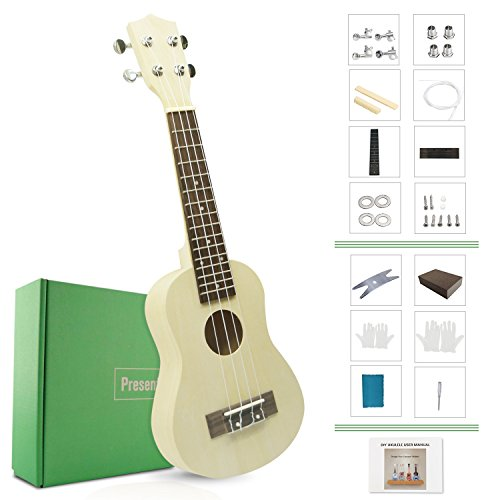 DIY Ukulele Kit Make Your Own Ukulele Soprano Hawaii Ukulele Kit with Installation Tools Screwdriver Spanner Sanding Sponge Model: DU-B (DIY Ukulele) by JYFY DJ Electron