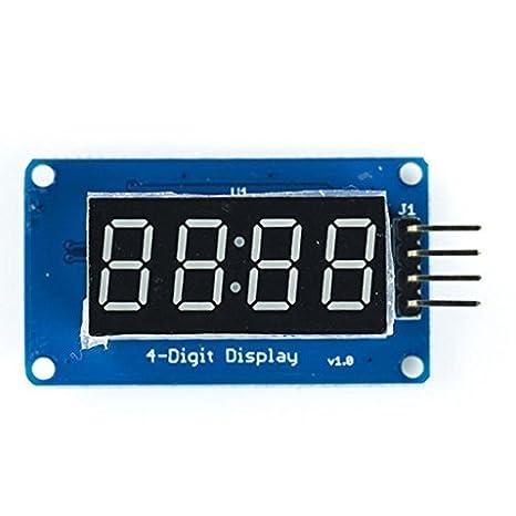 4 puntas tubo de módulo de pantalla LED Digital con pantalla del reloj para Arduino: Amazon.es: Electrónica