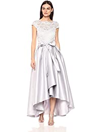 Womens Cap Sleeve Lace Hi Lo Mikado Gown