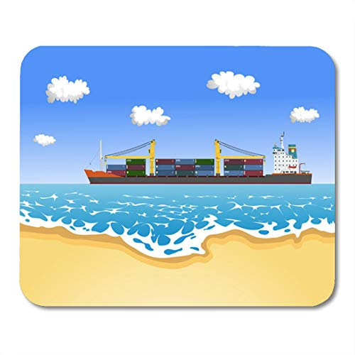 Emvency Mouse Pads Boat Cargo Container Ship Sailing Near The Sandy Beach Mouse Pad for notebooks, Desktop Computers mats 9.5