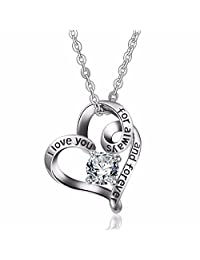 EUDORA I Love You for Always and Forever CZ 925 Sterling Silver Necklace, Heart-Shape Pendant, 18 inch