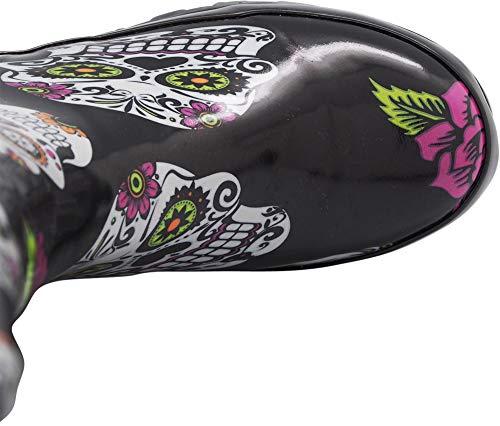 NORTY - Womens Hurricane Wellie Printed Rose Skulls Mid-Calf Rain Boot, Black 40713-8B(M) US by NORTY (Image #6)