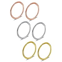 Ruifan 6-30PCS Non Pierced Stainless Steel Clip on Closure Round Ring Fake Nose Lip Helix Cartilage Tragus Ear Hoop Earrings Jewelry20G