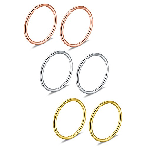 (Ruifan Stainless Steel Clip on Fake Nose Lip Helix Cartilage Tragus Ear Hoop Ring 20G 8mm 6PCS (Mix Color)