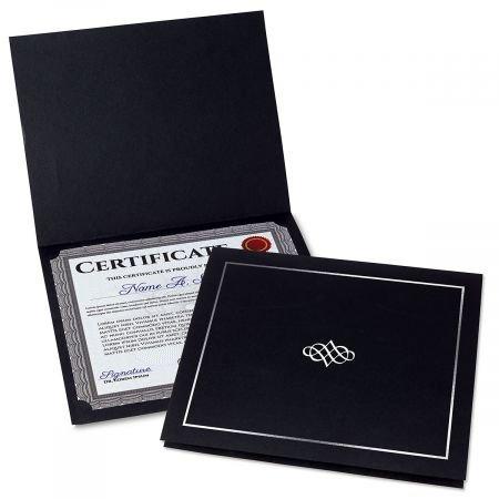 Ornate Black Certificate Folder w/Silver Border/Crest - Linen Cover Stock - Set of 50, 9-1/2'' x 12'' Folded w/Diecut Corners on 80 lb.