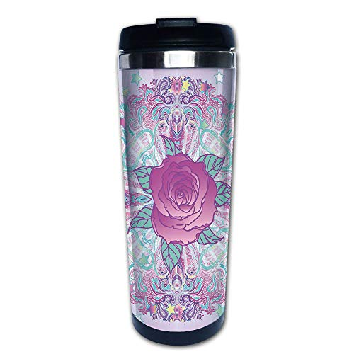 Stainless Steel Insulated Coffee Travel Mug,Inspired Round Rose Figure 80s 90s Retro Vintage,Spill Proof Flip Lid Insulated Coffee cup Keeps Hot or Cold 13.6oz(400 ml) Customizable ()