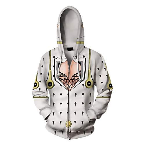 Xiao Maomi Bizarre Hoodie Casual Cool Jacket Anime Kujo Jotaro Uniform Cool Cosplay Costume Zipper Long Sleeves Coat (XL, Bruno Bucciarati) -