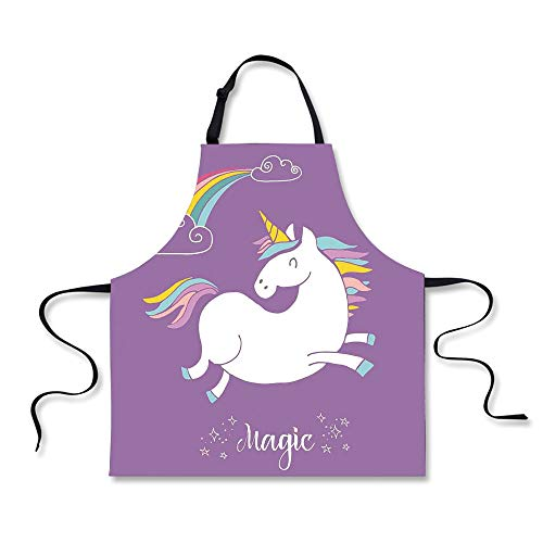 - iPrint Personality Apron,Unicorn Home and Kids Decor,Mythical Animal with Clouds and Rainbow Figure Fairy Image,Purple White,Picture Printed Apron.29.5