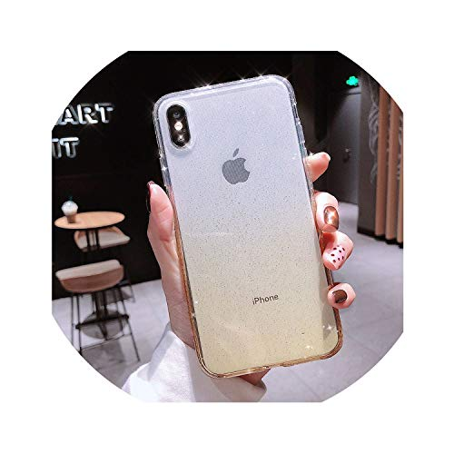 church123 Clear Diamond Bling Phone Case for iPhone 6 6S 7 8 Plus Luxury Gradient Glitter Case Soft TPU Glossy Cover XS Max XR X,Yellow,for iPhone XR