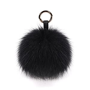 S.ROMZA Pom Pom Keychain Fluffy Real Fox Fur Ball Keychain for Women Bag Purse car key Charms