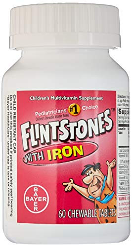 Flintstone Vit W/Iro Size 60s Flintstones Childrens Multivitamin Supplement W/ Iron Chewable Tabs 60 Ct (Pack of 2) -