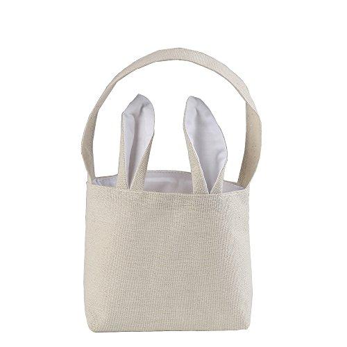 DECORA White Mini Cotton Easter Bunny Bags with Ear Design f