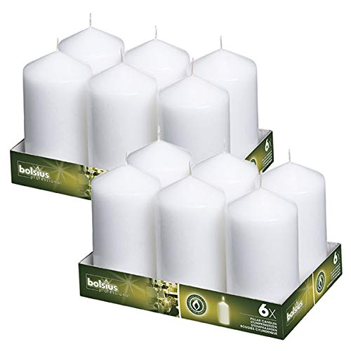 BOLSIUS,Set of 12 White Pillar Candles 3x6 – Unscented Restaurant Candles – Ivory Candles – Nice Wedding Candles – Set of Pillar Party Candles – Home & Party Decorations