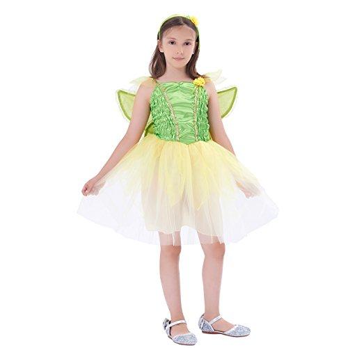 Autumn Fairy Costume Toddler (Costume Girls' Fairy Princess Costume, Halloween Party Dress, 3Pcs (dress, wings, headband) ,by IKALI(10-12Y))