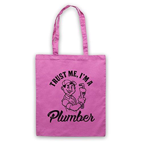 Trust Me I'm A Plumber Funny Work Slogan Bolso Rosa