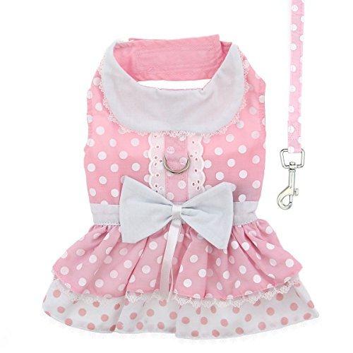 DOGGIE DESIGN Pink Polka Dot and Lace Dog Harness Dress Set L