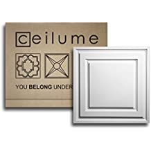 """10 pc - Ceilume Stratford Ultra-Thin Feather-Light 2x2 Lay In Ceiling Tiles - For Use In 1"""" T-Bar Ceiling Grid - Drop Ceiling Tiles (White)"""