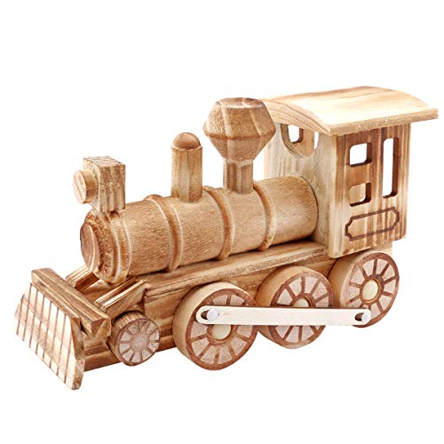 (Dedoot Retro Wood Train Model, Vintage Wooden Train Engine Model for Home Decor Tabletop Ornament Art Craft Collectibles - Wood Color )