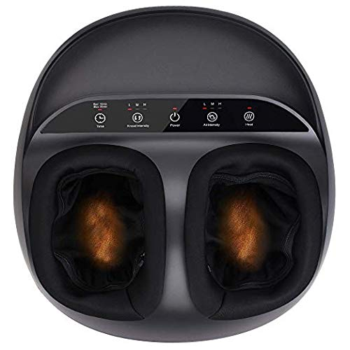 RENPHO Shiatsu Foot Massager Machine with Heat, Deep Kneading Therapy, Air Compression, Relieve Foot Pain from Plantar Fasciitis, Improve Blood Circulation, Fits feet up to Men Size 12- Panel Control