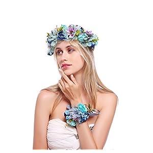 Floral Fall Floral Headband Daisy Rose Wedding Hair Wreath Rustic Bridal Headpiece Wrist Set HC-17 (Blue) 36