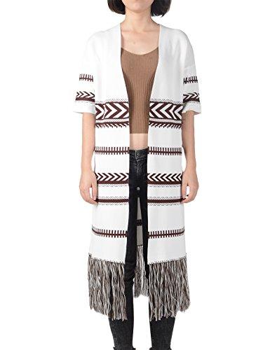 Prettigo Women's Regular Patterned Fringed Tassel Knitted Coat Open Front Cardigan Photo #1