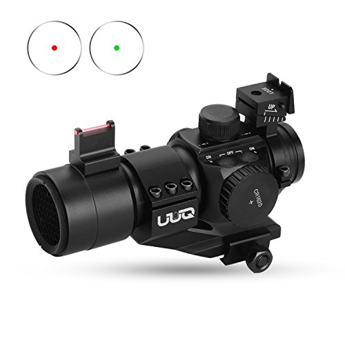 UUQ 1X30 Green & Red Dot Sight for Rifles & Shotguns W/ Top Fiber Optic Sight & Picatinny Cantilever PEPR (Green Shotgun Sights)