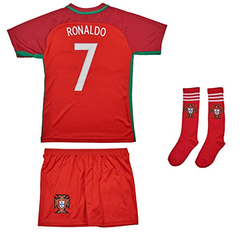 AMDS Soccer Youth Jersey Set ● Portugal ● Home Jersey with Short Socks ● ● # 7 Ronaldo (12-13 Ages ● XX-Large)
