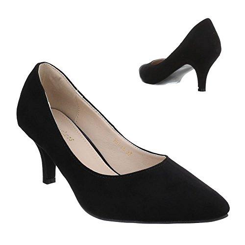 Ital-Design Damen Schuhe, HH-45, Pumps Klassische Schwarz