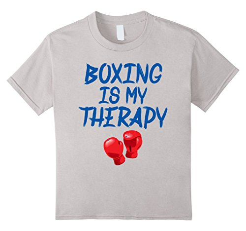 Kids Boxing Shirts: Boxing Is My Therapy Tee Boxer 8 Silver