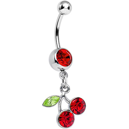 Ring Cherry Navel - Body Candy No 2 Red Dangling Cherry Belly Button Ring