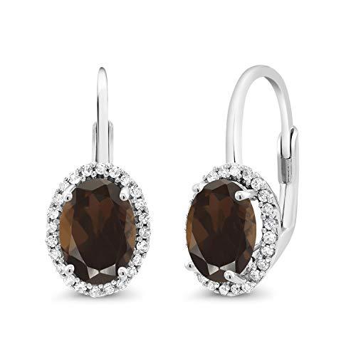 Gem Stone King 10K White Gold 1.84 Ct Oval Brown Smoky Quartz White Diamond Lever-Back Earrings