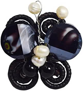 Gems Couture Jewelry Unique Black Onyx W/fresh Water Pearls Butterfly Shaped Adjustable Ring