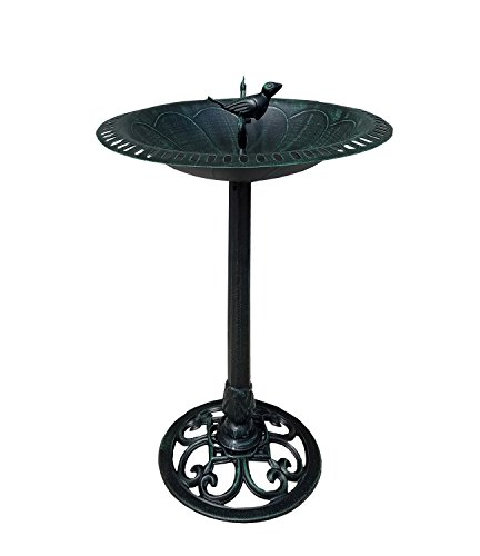 Verdigris Bird and Twig Birdbath - Pedestal Birdbath, Greenish Black Verdigris Product SKU:PB11125