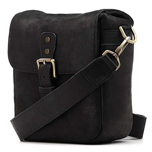 MegaGear Genuine Leather Camera Messenger Bag for Mirrorless, Instant and DSLR, Black (MG1328)